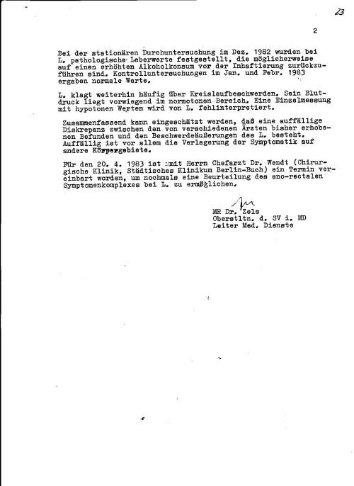 Hier ist  ersichtlich welche Aufgaben ein  IME Arzt  zu erledigen hatte nach dem er die Selbstverpflichtungserklärung unterschriueben hatte: Falsche Diagnose, und Medizinische Falschbehandlung auf Befehl des MfS. Oberstleutnant Dr. E. Zels war einer der übelsten Vollstrecker -IME NAGEL als Dritter im Bunde  IM PIT -IME NAGEL und IME GEORG HUSFELDT
