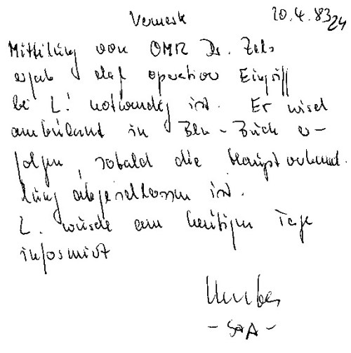 Am 21.4.; 22.4. und 26.4.1983 stand ich mit der Kenntnis des Vorsitzenden Richters und der Staatsanwaltschaft  blutend, dringendzur OP bestellt, nicht verhandlungsfähig und mit psychopharmaka präpariert vordem Stadtgericht.