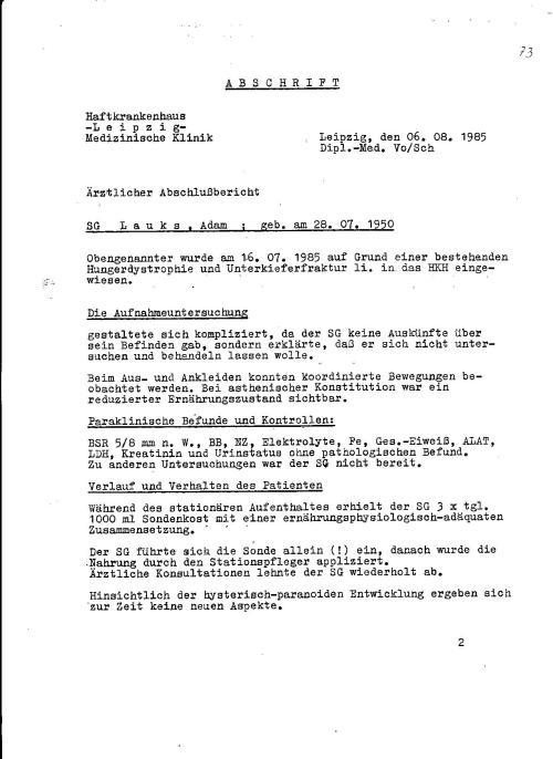 Gesundheitsakte Blatt 84: HKH Leipzig Meusdorf - Der letzte Arztlicher Bericht !