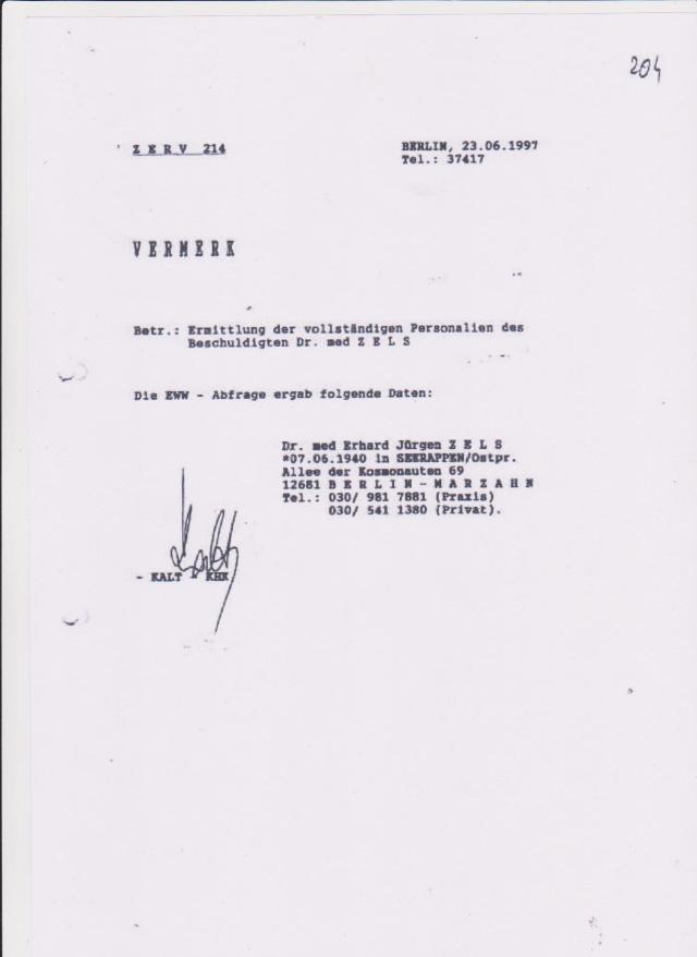 Vernehmung  des Dr. Zels -IM NAGEL 2.7.1997 durch ZERV 214