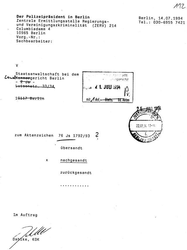 30 Js 1792 93 Ermittlungsverfahren der Staatsanwaltschaft II Bln 068