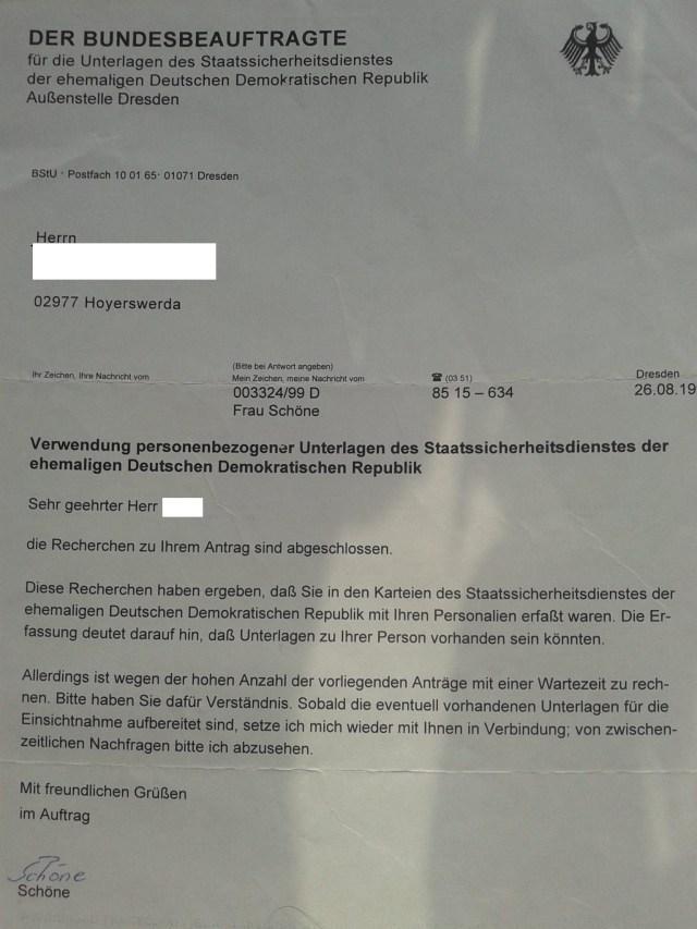 Urkundenunterdrückung, Verschleierung, Vertuschung sind im Auftrag der BStU drin! Man wartet auf die biologische Lösung bei vielen - wie vielen Anträgen wie dieser !?? - und DAFÜR zahlte Deutschland bis jetzt 2,5 Mrd € !??