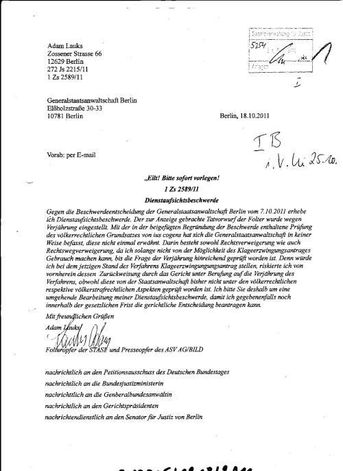 Ermittlungsverfahren auf Strafantrag wg. Folter 272 Js 2215 -11 008