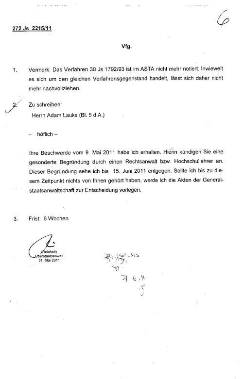 Ermittlungsverfahren auf Strafantrag wg. Folter 272 Js 2215 -11 012