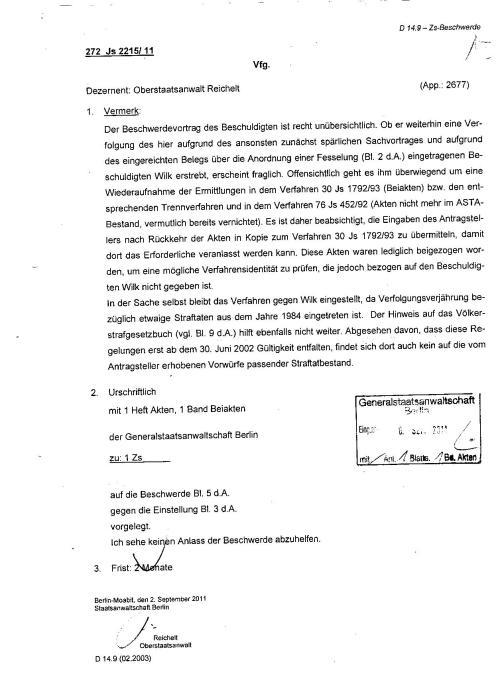 Ermittlungsverfahren auf Strafantrag wg. Folter 272 Js 2215 -11 021