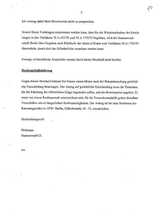 Ermittlungsverfahren auf Strafantrag wg. Folter 272 Js 2215 -11 023