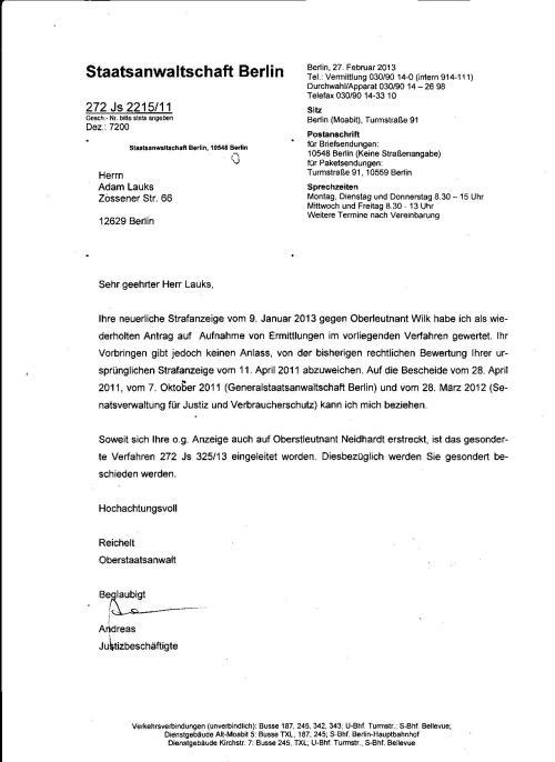 Auf Einstellung des Verfahrens 272 Jd 325/13 gab es keine Beschwerde !