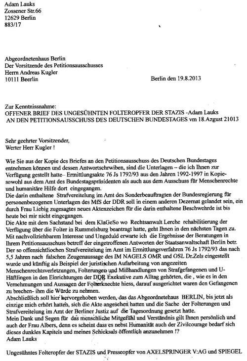 An den Petitopnsausschuss des Abgeordnetenhauses von Berlin