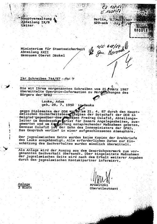 Der jugoslawischen Seite wurden keine Kopien der Drohbrife des Lauks ausgehändigt.