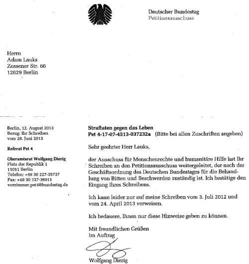 Antwort an den  Petitionsausschuss Steinke Dierig Liebig 18.8.13