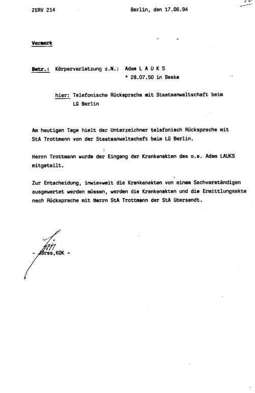 Generalstaatsanwaltschaft unterdrückt Beweise für Kieferbruch 007