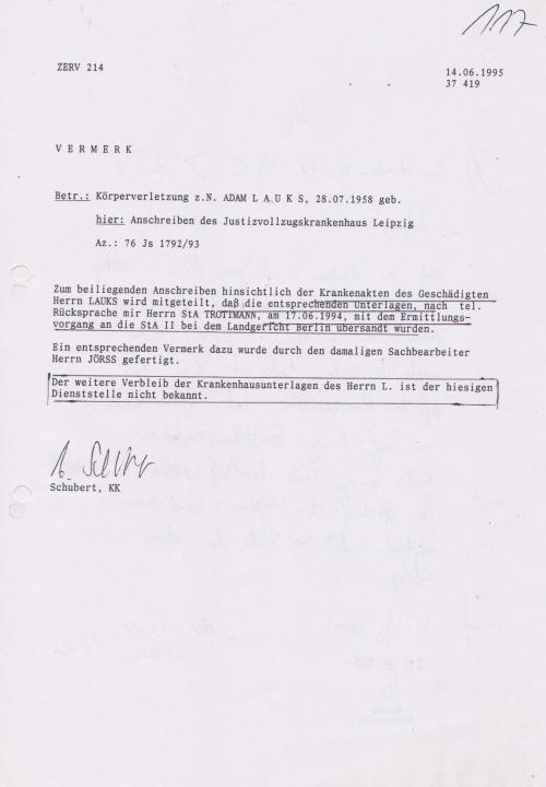 Generalstaatsanwaltschaft unterdrückt Beweise für Kieferbruch 014