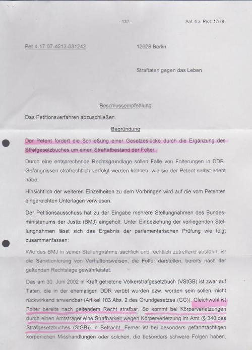 Veröffentlichung einer Petition  für die Implementierung des § Folter ff in das nationale StGB wurde  nicht veröffentlicht