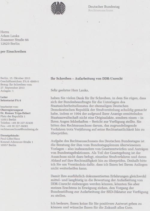 Rechtausschuss swa Swutschen Bundestages 18.10.13