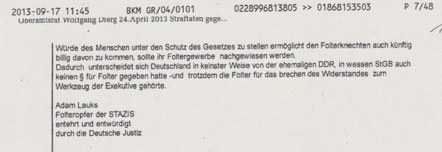 Blat 199 :Dass man mit Petition der Deutschen Bürger SO ignorant und unsachlich und abwimmelnd umgeht, wundert nicht. SAber dass man mit den Petition des Deutschen Bundestagspräsidenten und des Ausschusses für Menschenrechte SO umgeht ist höchst besorgniserregend !
