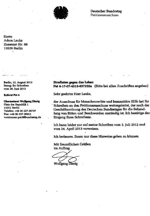 Die Akte wurde gesichtet und dem Petitionsausschuss zuständigkeitshalber zugeleitet