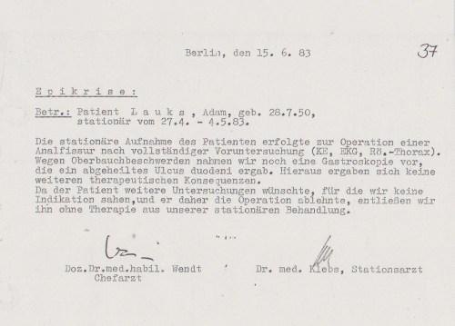 Den Professor Dr. Wendt Chefarztv des Regierungskrankenhauses sprach ich 1996