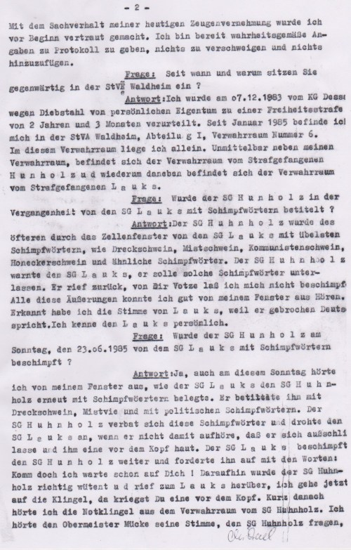 Michael Gerald 4500 Dessau, Schlachthofstrasse 23 wurde drei Tage nach seiner Aussage entlassen aus der Hölle von Waldheim