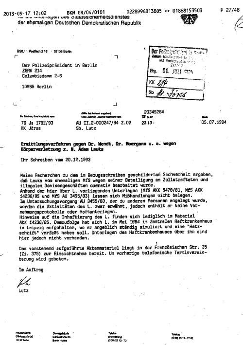 Aktenmanipulation gehörte zur geheimdienstlichen Tätigkeit des MfS und jeden Geheimdienstes.