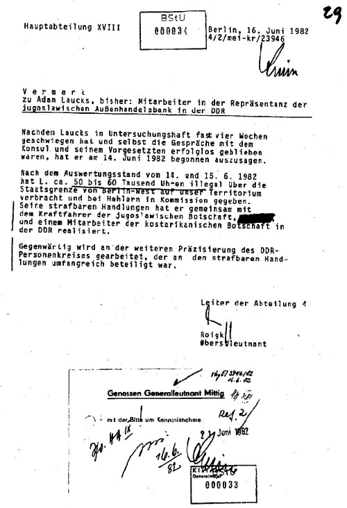 Ich habe keine einzige Uhr über die DDR Grenze je verbracht. Die Erfolgsmeldung ist also komplette Lüge. AnGeneralleutnant Mittig abgegeben  landete die  bei Mielke Wolf-Großmann !?