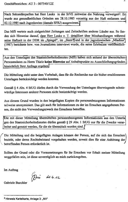 BStU HEUTE -Jahn Behörde um das Ergebnis der Recherche zu manipulieren und mit Unwahrheiten zu bestücken, greift die BStU nach sekundären Quällen die solche Ergebnisse dem LaGeso:
