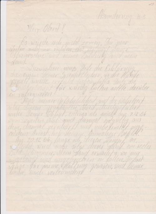 Aus dem Haus 8 -Krankenrevier schrieb ich diesen Brief an den Oberst Schmidt - Bock
