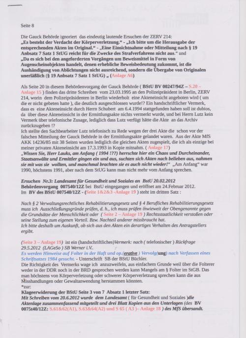 Stellungnahme des ungesühnten Folteropfers Adam Lauks auf die Klageerwiderung des BStU S.8