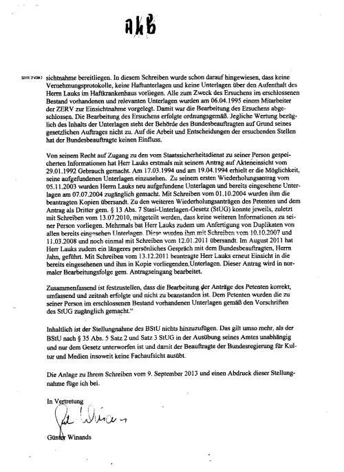 """""""Alle zum Zweck des Ersuchens  im erschlossenen Bestand vorhandenen und relevanten Unterlagen wurden am 06.04.1995 ( auch  die Akte MfS HAVII/8 Nr.577/85 !?? -A.L.-Siehe Anlage 22 ) einem Mitarbeiter der ZERV zur Einsichtnahme vorgelegt. Damit  war die Bearbeitung des Ersuchens Abgeschlissen. Die Bearbeitung des Ersuchens erfolgte ordnungsgemäß."""""""