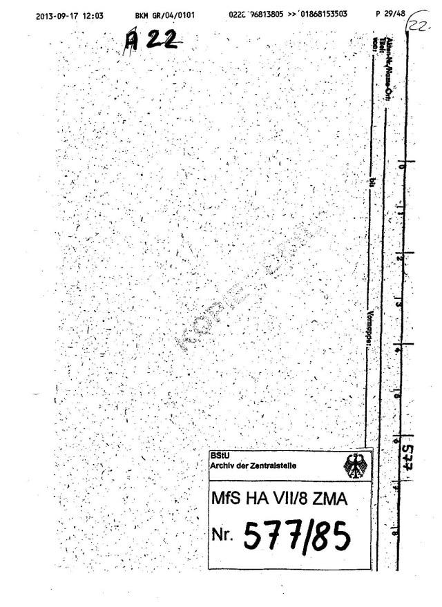 Durch die Gauck Behörde absichtlich unterdrückte Akte MfS HA VII/8 ZMA Nr. 577/85 eintschied über die Widerherstellung meiner Würde und die Rückgabe meiner gestohlener Ehre...