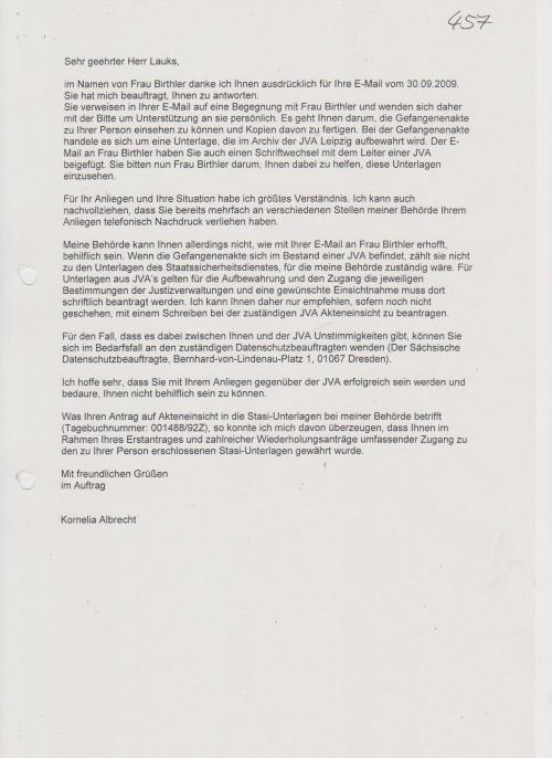Im Namen von Frau Birthler danke ich Ihnen ausdrücklich für Ihre E-Mail...
