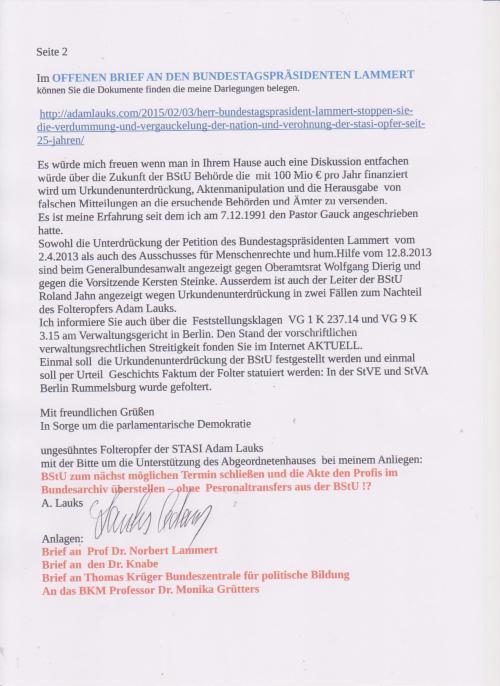 Es geht nur um die Gerechtigkeit für erlittene Folter der STASI-Justiz und ihrer Exekutive. WHO CARE !  Ist nicht so schlimm; kümmert Euch lieber  im Abgeordnetenhaus von Berlin um STASI-Machenschaften am BER und dass die STASI ABM- BStU endlich geschlossen wird. Akte  in das Bundesarchiv, das überflüssige Personal dem Bundespräsidenten wie damals 1990 zur Verfügung stellen, den Persilschein hatte re denen damals selbst ausgestellt !? ( lol)