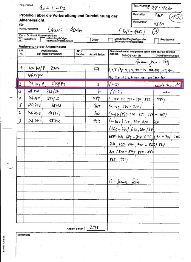 Urkundenunterdrückung der Akte 588/85