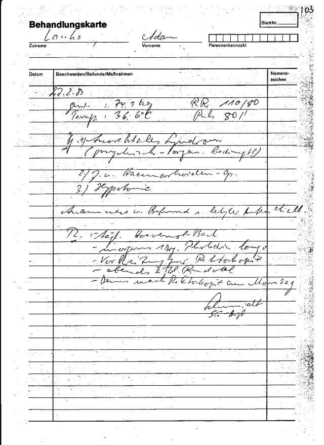 Schon die Ablage 27.2. nach den 28.2.83 abzulegen zeigt auf Fälschung,bzw Falschberichte und Falschdiagnosen. Es gab am 27.2.1983 keine Einlieferung ins Haus 8 und es gab KEINERLEI Vorbereitung was auf eine Rektoskopie hinweisen würde. Es gab auch keinen Befund nach der