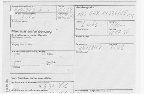 General Leutnant Rudi Mittig war der erte Stellvertreter des Minister -Armeegeneral Erich Miwelke. Die AR3 hatte die Akte von 00001 bis 00037 dem Sachbearbeiter Lutz zur Bearbeitung vorgelegt gehabt.