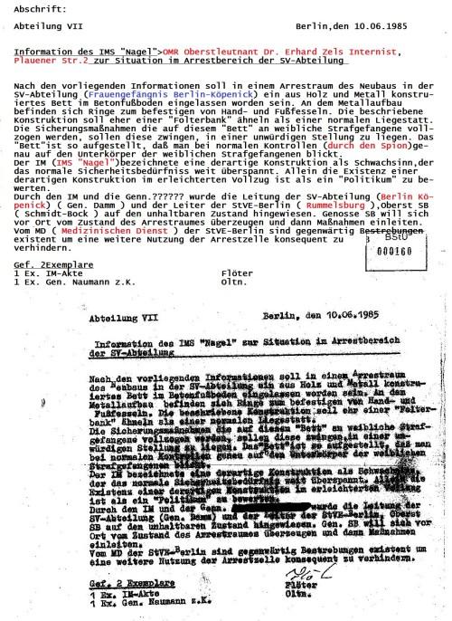 Seit 1991 wurde diese Akte als Beweis für Folzterungen im Zuchthaus Berlin Rummelsburg - Abteilung Frauengefängniss Berlin Köpenick von der Behördenleitung der Gauck - Birthler - Jahn Behörde unterdrückt !