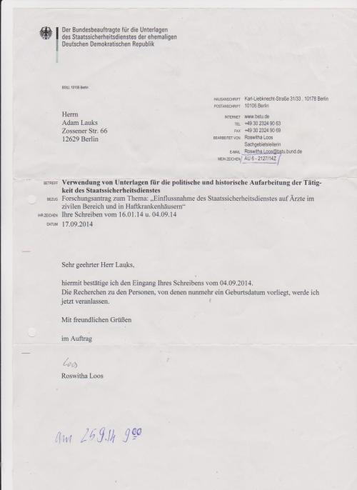 Genehmigtes Forschungsprojekt trägt die Tagebuchnummer: AU 6 - 2127/14Z