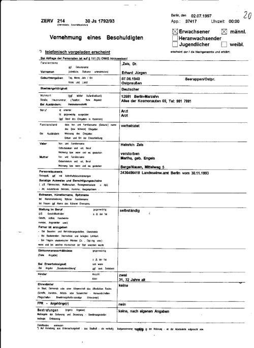 Laut Gesetz der DDR ist  man verpflichtet über Verbrechen und Kapitalverbrechen  Anzeige zu erstatten...Hat OMR  Dr. Erhard Zels das getan !??