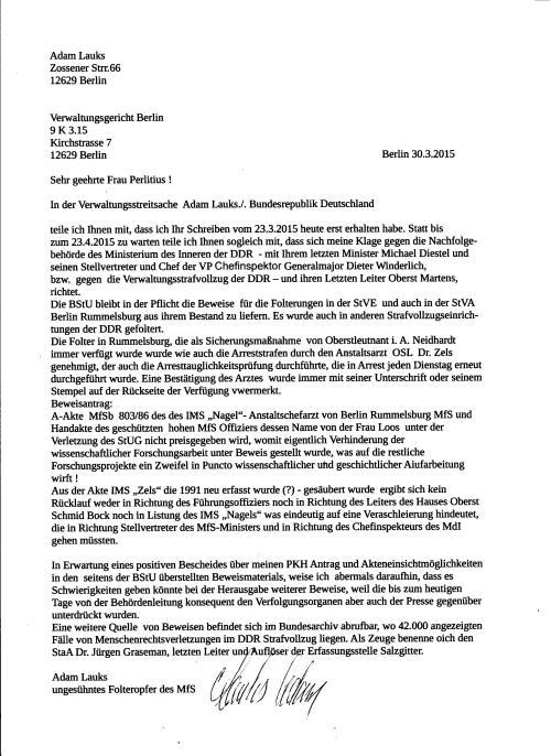 Postwendend die Antwort an die Berichterstatterin Perlitzius. Beklagte ist MdI  der DDR / Minister Michael Diestel