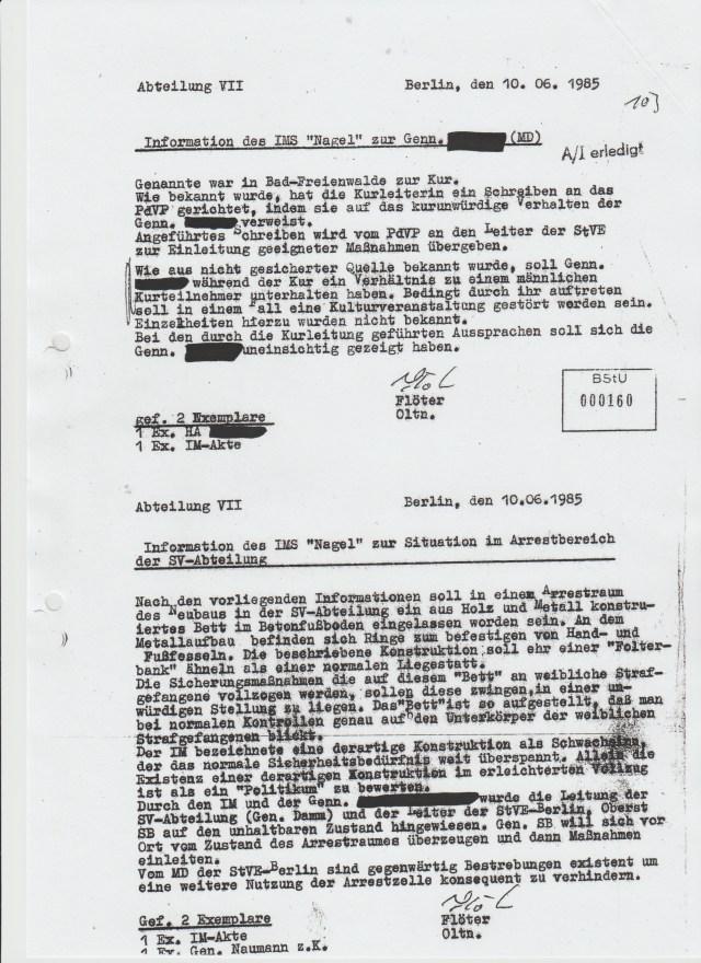 """Vorveröffentlichung aus dem Forschungsprojekt: Einfluss des MfS auf die Ärzte der DDR IMS """"Nagel"""" berichtet das erste Mal über """"Folterbank"""" an seinen Führungsoffizier des MfS – WARUM erst am 10.6.1985 Oberstleutnant Dr. Erhard Jürgen Zels !?"""