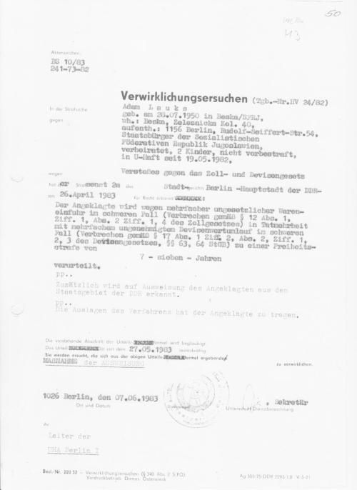 BS 10/83    241-73-82 Verwirklichungsersuchen vom 07.06.1983: