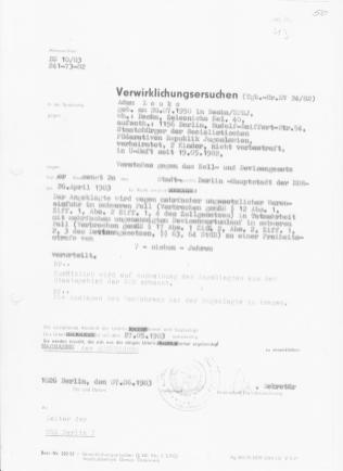 """BS 10/83 241-73-82 Verwirklichungsersuchen vom 07.06.1983: """"Sie werden ersucht, die aus der obigen Urteilsformel ergebende MASSNAHME der AUSWEISUNG zu verwirklichen,"""""""