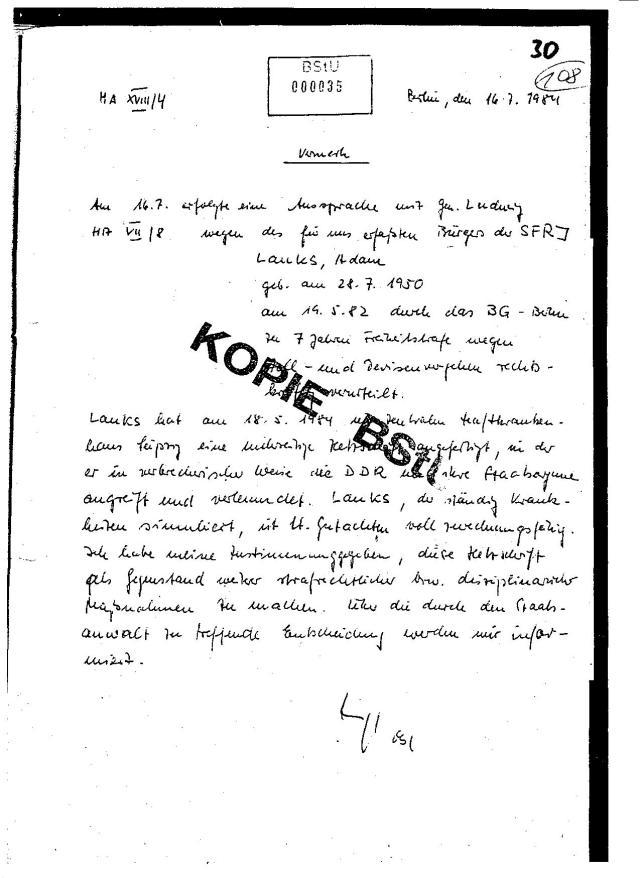 Vermerk  des MfS Seite 30