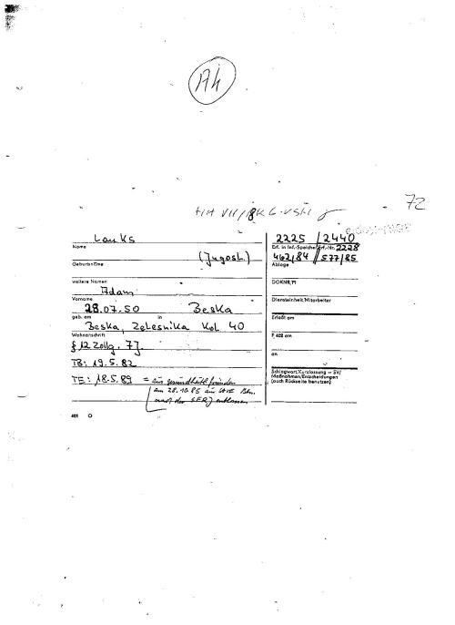 Mit der Recherche nach der Karteikarte beginnt JEDE Recherche in der Abteilung AR 2- Signatur Nr.577/85 und Nr 462/84 wurden samt Akte unterdrückt durch Gauck und Jahn