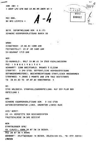 Soifortmeldung Unterkieferbruch im Hochsicherheitstrakt - Absonderungszelle 4 - heil- und Pflegestätte Waldheim