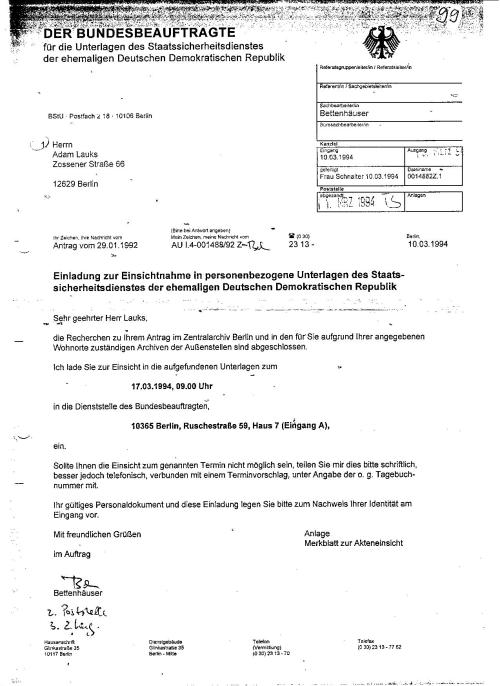 Einladung zur Einsichtnahme in personenbezogenen Unterlagen des....