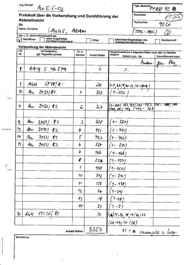 Seite 153: Akte HA VII/8 577/85 s Seiten - zur Akteneinsicht NICHT zugelassen ! (???)