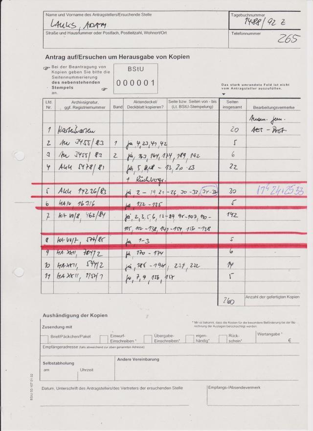 Das erste Mal - nach 7.12.1991 war die Gauck Behörde bereit mir die Akte aus der Position 8: HA VII/7, 577/85 zur Einsicht freizugeben- diesmal mir sogar nach Hause zu schicken !? Darin enthaltene schwere Körperverletzung war der Verjährung zum Opfer gefallen. Der eingesetzte STASI-Scherge war von Gauck und Dr.Geiger und vom Harald Both definitiv vor Strafe geschützt, die Auftraggeber auch.