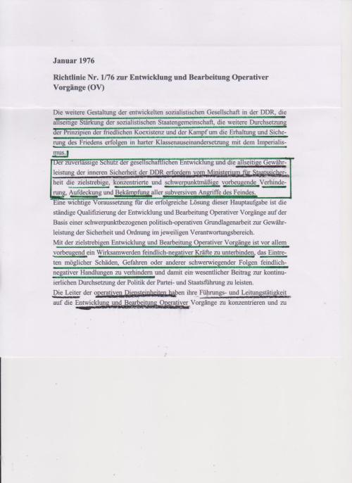 Aufarbeitung der Aufarbeitung hat noch nicht angefangen! Wieviele Hauptamtlivche des MfS und Vollstrecker dieser Richtlinie hat Bundesrepublik in eigene öffentliche Dienste übernommen !??