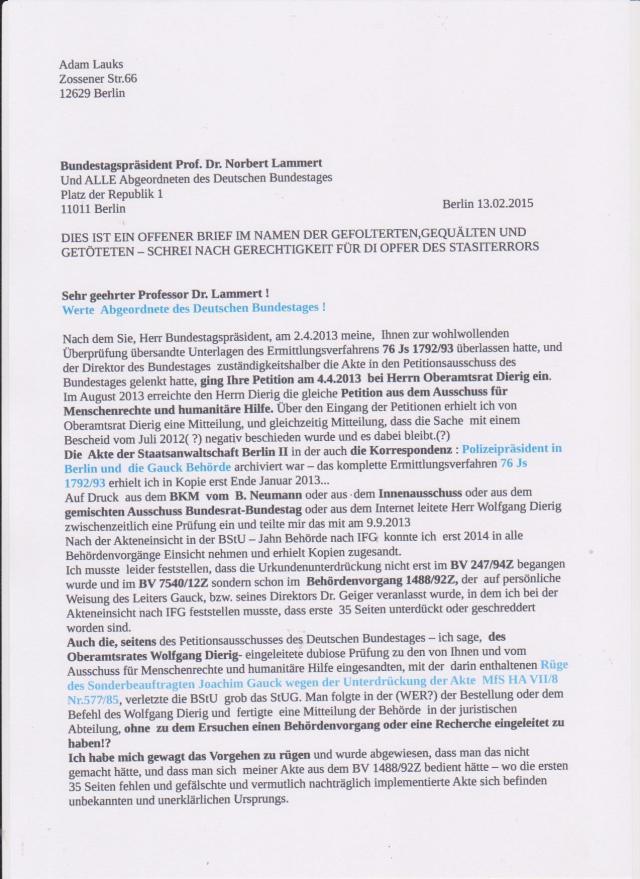Wollen die Abgeordneten des Deutschen Bundestages für weitere 25 Jahren verGAUCKelt werden? Weiter EUCH die Verfälschung der jüngsten Geschichte vom Lügenimperium des MfS andrehen... für weitere 2,5 Mrd € !??