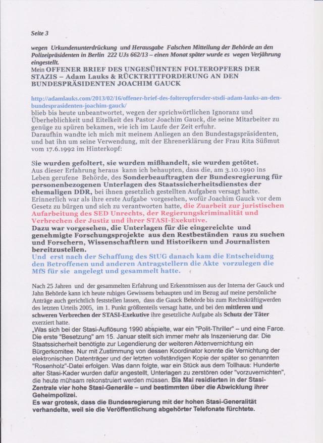 OFFENER BRIEF DES UNGESÜHNTEN FOLTEROPFER DER STAZIS - Adam Lauks & RÜCKTRITTFORDERUNG AN DEN BUNDESPRÄSIDENTEN JOACHIM GAUCK (googeln)